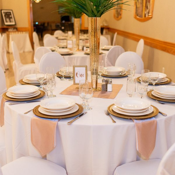 lasila ballroom wedding banquet table setting